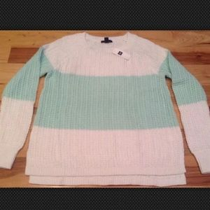 Gap Women's Medium Teal & White Cable Knit Sweater